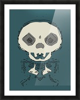 skull and bone graffiti drawing with green background Picture Frame print