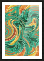 psychedelic graffiti wave pattern painting abstract in green brown yellow Picture Frame print