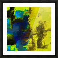 psychedelic splash painting abstract in yellow blue and black Picture Frame print