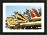 Hawaii, Oahu, Colorful Hawaiian Design Surfboards Fins. Picture Frame print