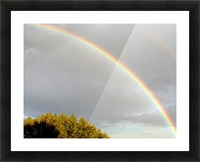 Landscape, photography - Double rainbow on Roman sky with tree - The Roman landscape, Rome, Italy, photography Picture Frame print