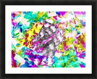 psychedelic splash painting abstract in pink blue yellow green purple Picture Frame print