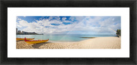 Hawaii, Oahu, Waikiki, Outrigger Canoes On The Beach With A Rainbow And Diamond Head In The Background. Picture Frame print