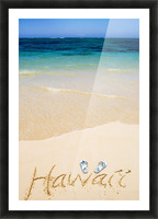 USA, Hawaii, Ocean in background; Kailua, Flipflops and Hawaii written in sand Picture Frame print