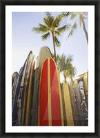 USA, Hawaii, Oahu, Close up view of colorful surfboards in surfboard rack on Waikiki Beach; Waikiki Picture Frame print