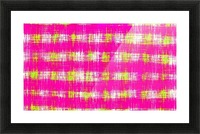 plaid pattern graffiti painting abstract in pink and yellow Picture Frame print