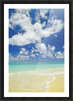 Hawaii, Oahu, Lanikai; Gentle Wave Washing Ashore On Beach, Turquoise Water And Blue Sky. Picture Frame print