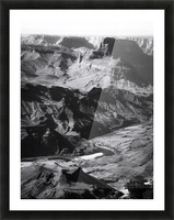 Desert at Grand Canyon national park, USA in black and white Picture Frame print