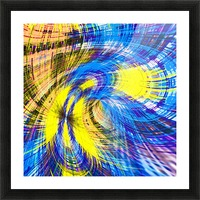 geometric psychedelic splash abstract pattern in blue and yellow Picture Frame print