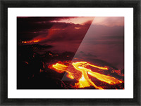 Hawaii, Big Island, Hawaii Volcanoes National Park, Lava Flow Glows In Early Dawn Picture Frame print