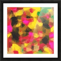 psychedelic geometric polygon shape pattern abstract in pink yellow green Picture Frame print
