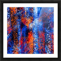 psychedelic geometric polygon shape pattern abstract in blue red orange Picture Frame print