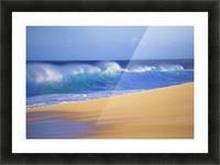 Shorebreak Waves Along Sandy Beach, Blue Sky Picture Frame print