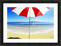 Red And White Umbrella On The Beach, Blue Sky And Ocean Picture Frame print