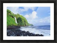 Hawaii, Maui, Hana, Pokupupu Point And Waikani Falls Going Into Ocean Picture Frame print