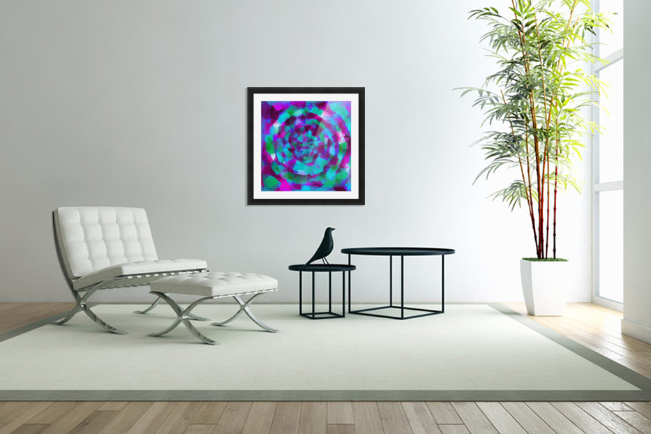 psychedelic geometric polygon pattern abstract in pink purple blue in Custom Picture Frame