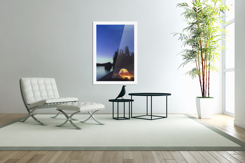 A glowing tent on a beach overlooks green Aurora Borealis reflected in the tranquil ocean water, Hesketh Island; Homer, Alaska, United States of America  in Custom Picture Frame