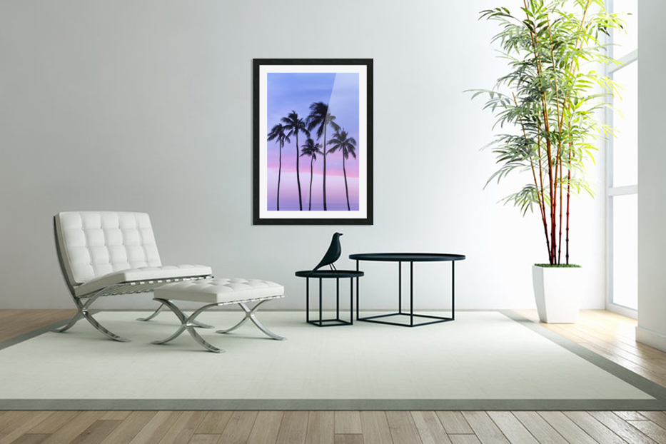 Five coconut palm trees in line with cotton candy sunset behind; Honolulu, Oahu, Hawaii, United States of America in Custom Picture Frame