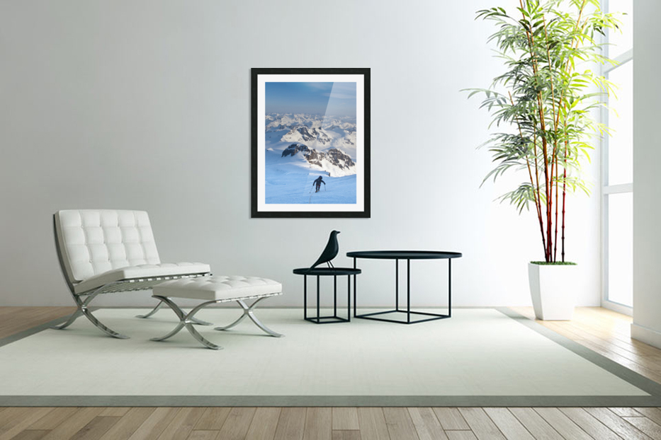 Climber Leaning Into High Winds On Northwest Ridge Of Mount Iliamna Above Tongue Glacier And Chigmit Mountains, Spring, Southcentral Alaska in Custom Picture Frame