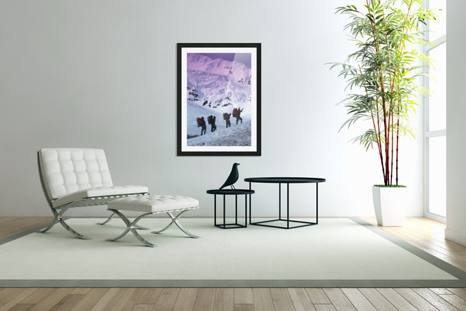 Mountain Climbers Byron Glacier Southcentral Ak Spring in Custom Picture Frame