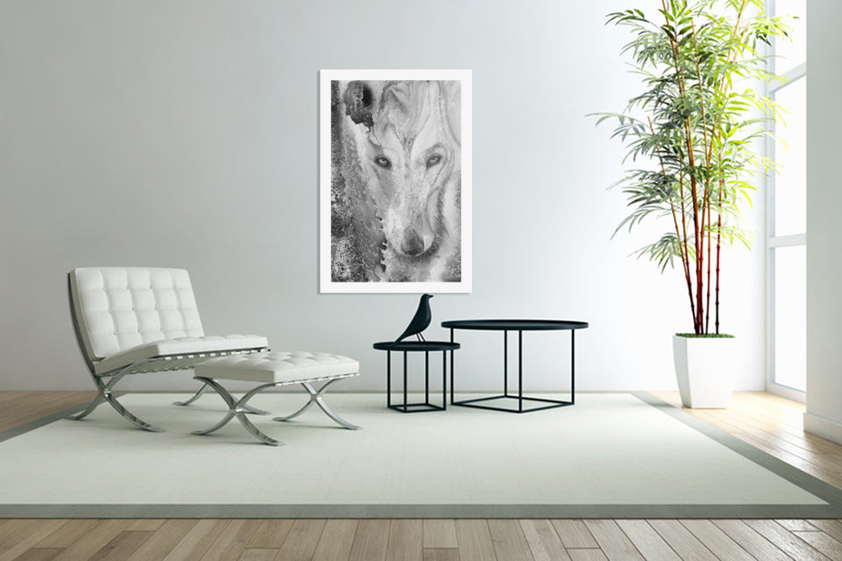 Illustration of a wolf and a mottled background in Custom Picture Frame
