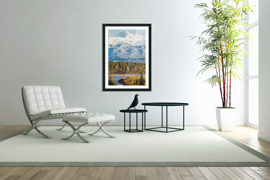 Denali, viewed from the Parks Highway, interior Alaska, near South Viewpoint rest stop; Alaska, United States of America in Custom Picture Frame