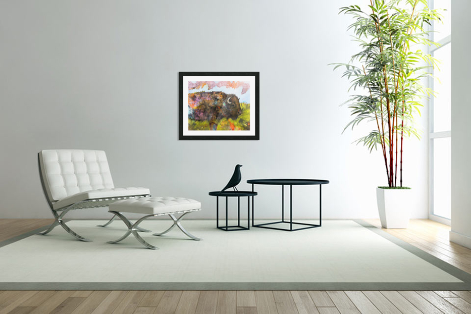 Illustration of a buffalo with colourful splashes and landscape in Custom Picture Frame