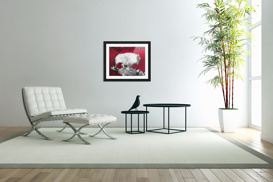 Illustration of a bison against a red background in Custom Picture Frame