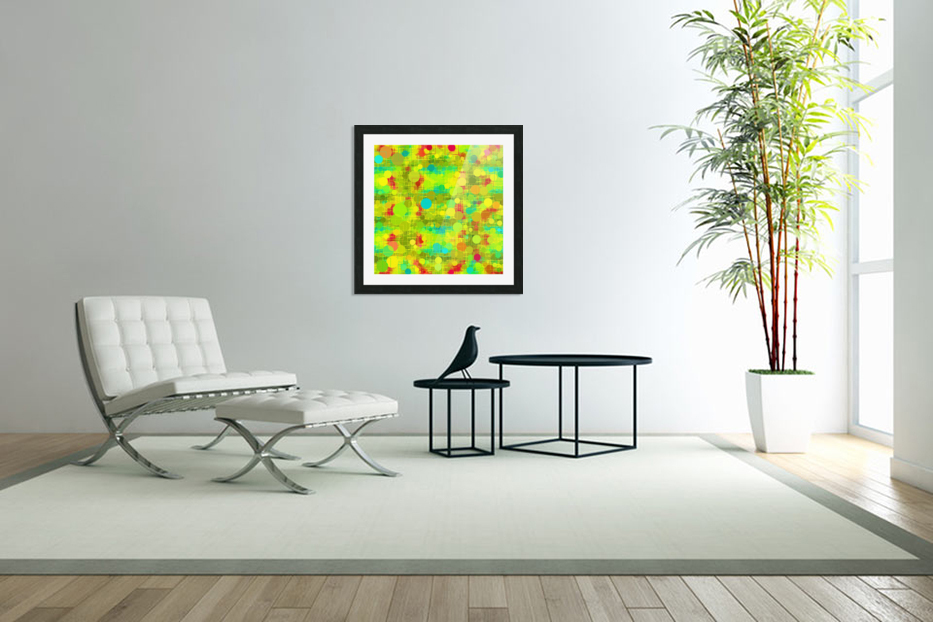 psychedelic geometric circle and square pattern abstract in yellow green blue red in Custom Picture Frame