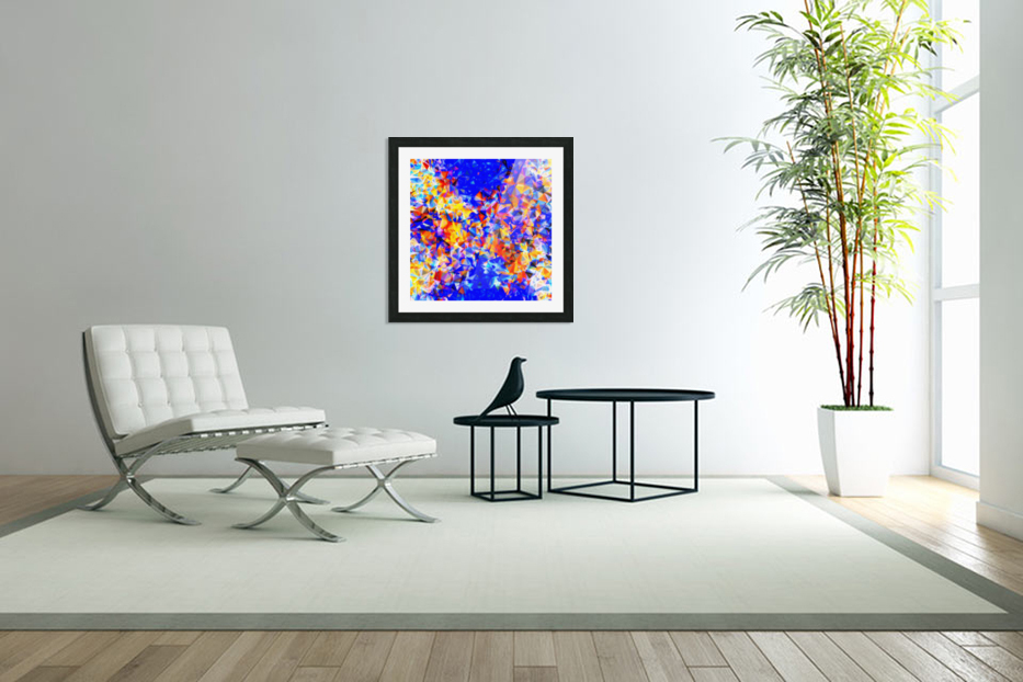 psychedelic geometric triangle abstract pattern in blue orange yellow in Custom Picture Frame