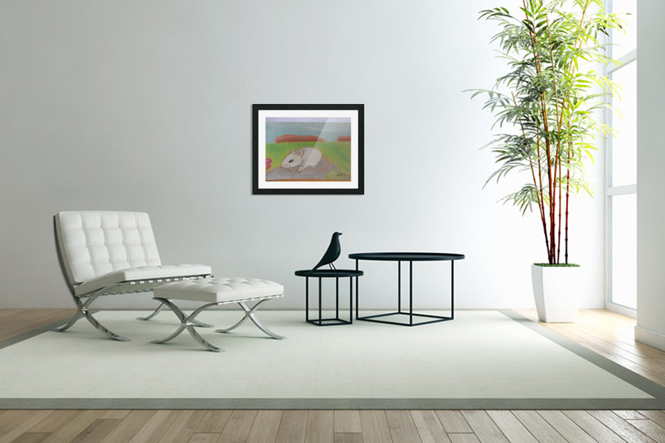 White mouse in Custom Picture Frame