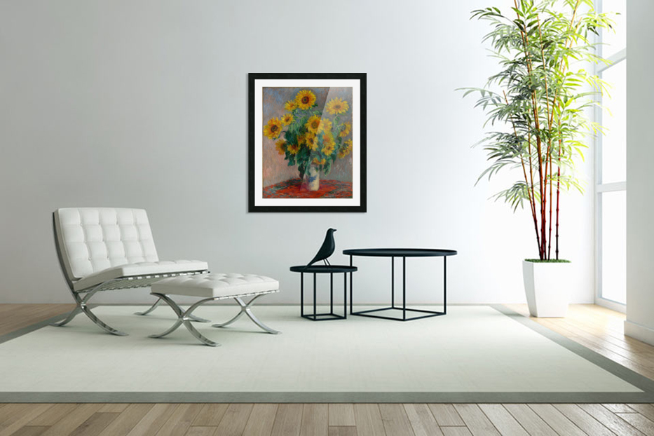 Still Life with Sunflowers by Monet in Custom Picture Frame