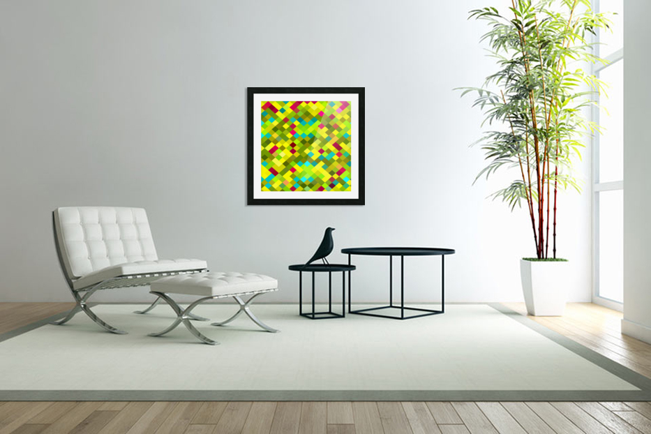 geometric square pixel pattern abstract in yellow red green blue in Custom Picture Frame