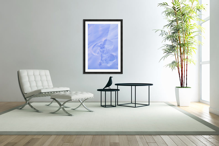 Close Up Of Snow Angel At Sunset With Blue And Pink Highlights Winter Fairbanks Interior Alaska in Custom Picture Frame