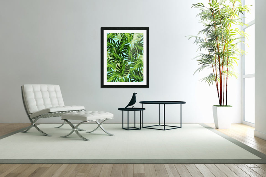 Watercolor leaves tropical I in Custom Picture Frame