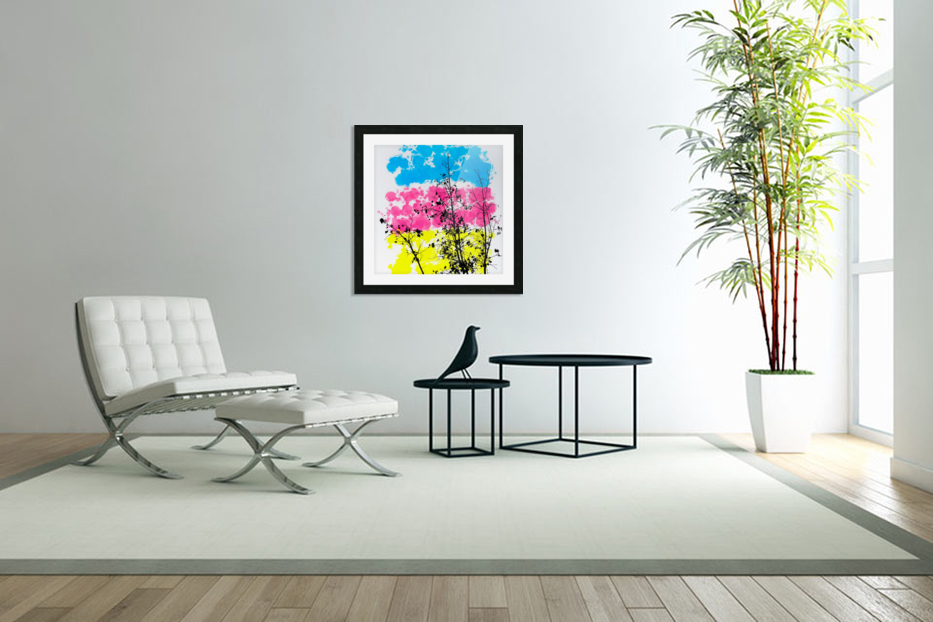Tree Branch With Leaf And Painting Texture Abstract Background In Blue Pink  Yellow Picture Frame Printing