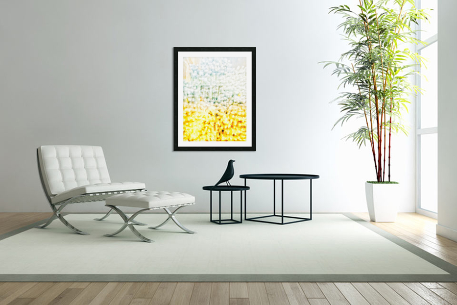 BURST - YELLOW & WHITE in Custom Picture Frame