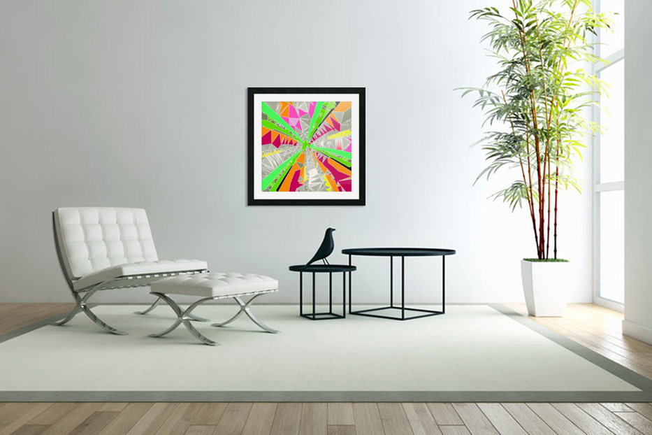 psychedelic geometric pattern drawing abstract background in green orange red pink in Custom Picture Frame