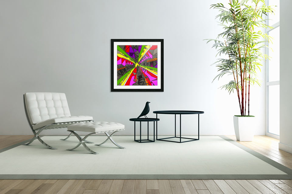 psychedelic geometric pattern drawing abstract background in red pink green yellow in Custom Picture Frame