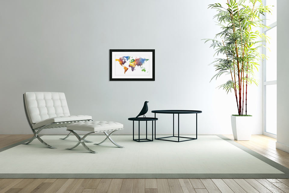 Colorful Map Of The World Watercolor in Custom Picture Frame