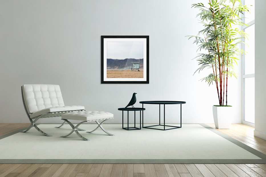Lonely Lifeguard Tower at Beach in Custom Picture Frame