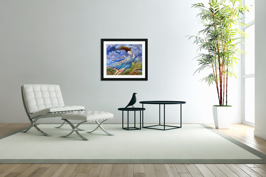 Windy Flutist in Custom Picture Frame