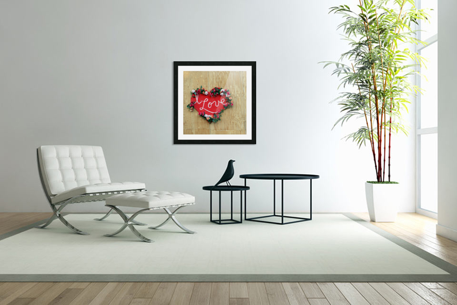 I love Heart - Square Canvas Print in Custom Picture Frame