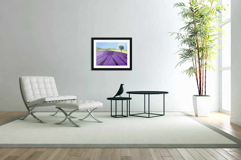 Purple Lavender Field Painting in Custom Picture Frame