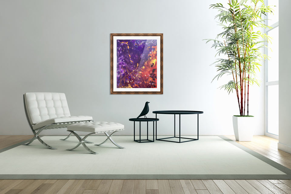 The Flow Purple and Orange Abstract in Custom Picture Frame