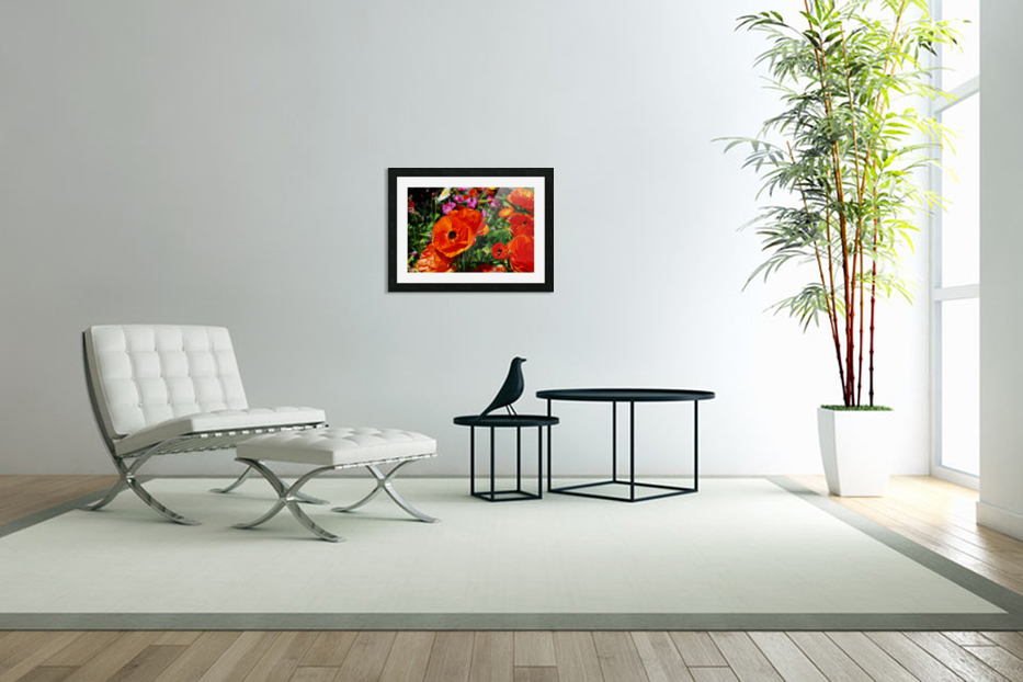 Garden with Orange Flowers Growing in Custom Picture Frame