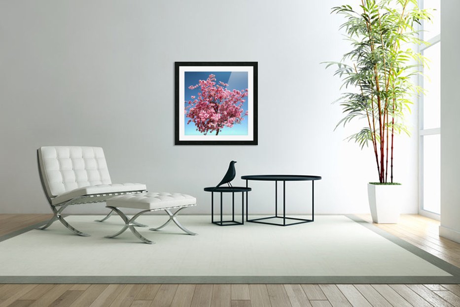 Cherry Blossom on Blue in Custom Picture Frame
