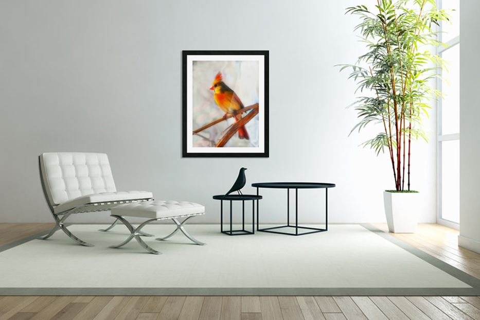 Cardinal in Custom Picture Frame