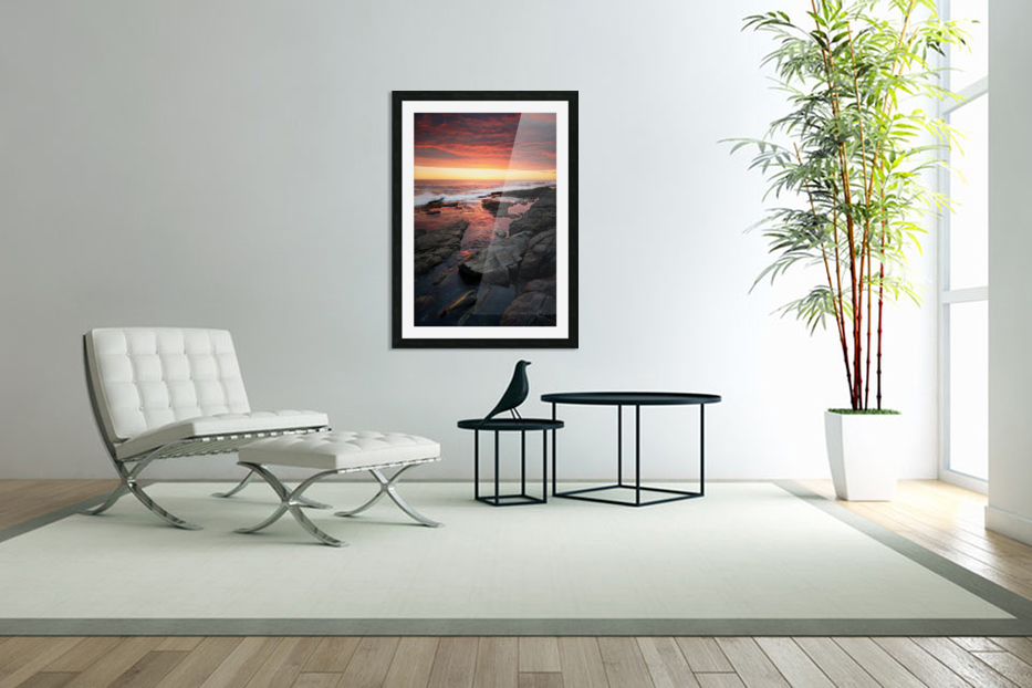 Sunset over rocky coastline in Custom Picture Frame