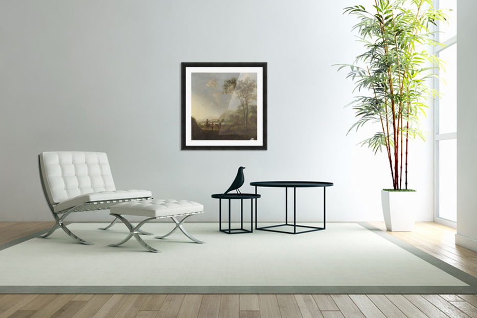 Landscape with herdsman and cattle in Custom Picture Frame